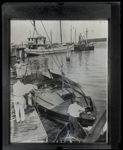 Thumbnail of Burned hull of the motorboat owned by Harry Richman in which a party of          Ziegfield Follies and other Broadway principals narrowly escaped death when the gasoline          tank exploded