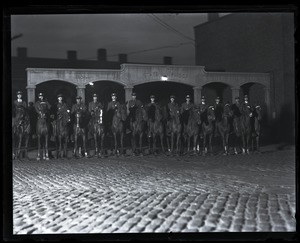 Thumbnail of Mounted police in front of the state prison after the execution of Sacco and Vanzetti