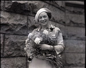 Thumbnail of Kay Sennott Half-length portrait holding bouquet at New Bedford Fire Chiefs' Convention