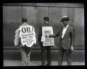 Thumbnail of Upton Sinclair and supporters (including son David?) protesting at censorship hearings for          his novel Oil!: showing back side of sandwich boards protesting censorship