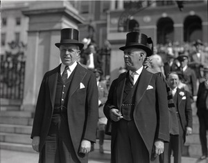 Thumbnail of Govs. Alfred E. Smith and Joseph Buell Ely (r. to l.) in front of the Massachusetts State House