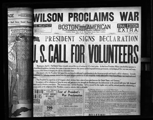 Thumbnail of Headline: President signs declaration / U.S. call for volunteers Boston American