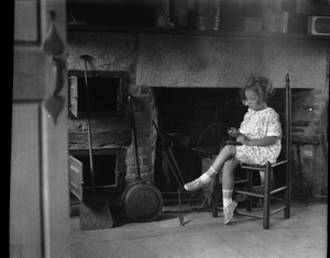 Thumbnail of Birthplace of Daniel Webster Young girl seated before a fireplace