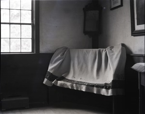 Thumbnail of Birthplace of Daniel Webster Settee, draped with a coverlet made for Webster by J. Boyd in 1841