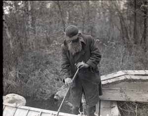 Thumbnail of Benjamin 'Benny' Wells, Maine hermit By his row boat