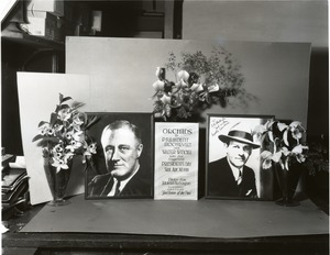 Thumbnail of Orchids to President Roosevelt and Walter Winchell: portraits of Roosevelt and          Winchell with orchid display (Dendrobium sp. and Cattleya labiata, l. to r.)