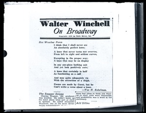 Thumbnail of Hot Weather Poem, by Van H. Eshelman: poem for Walter Winchell On Broadway column in the Daily Mirror