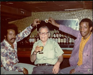 Thumbnail of Bernie Moss (center) at the bar at the Jazz Workshop
