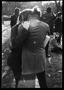 Thumbnail of Crowd on Cambridge Common: couple hugging