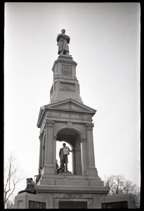 Thumbnail of Crowd on Cambridge Common: Civil War Memorial (statue of Abraham Lincoln hung             with sign advertising the opening of the Cambridge Electric Ballroom)