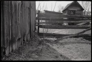 Thumbnail of Barns, fence, and outbuildings