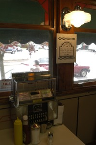 Thumbnail of Booth and jukebox at the Miss Florence Diner