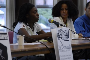 Thumbnail of UMass student strike: panel of speakers in the Student Union ballroom