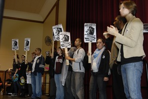 Thumbnail of UMass student strike: strike organizers on stage in the Student Union ballroom