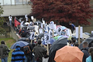 Thumbnail of UMass student strike: strikers marching in to occupy Whitmore Hall