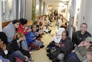 Thumbnail of UMass student strike: strikers occupying the hallways in Whitmore Hall leading             to the Chancellor's office