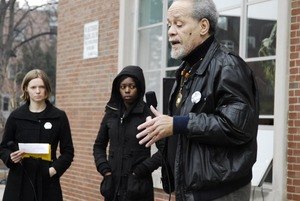 Thumbnail of Justice for Jason rally at UMass Amherst: Michael Ekwueme Thelwell speaking to             protesters outside the Student Union Building in support of Jason Vassell