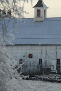 Thumbnail of Barn hung with a Christmas wreath and ice-covered landscape