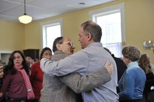 Thumbnail of Aftermath of the Congregational Church fire in West Cummington, Mass.: emoitonal             parishioners hugging one another
