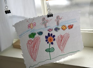 Thumbnail of Aftermath of the Congregational Church fire in West Cummington, Mass.:             child's drawing of hearts and flowers