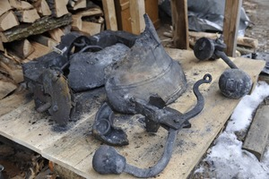 Thumbnail of Aftermath of the Congregational Church fire in West Cummington, Mass.:             charred ruins of the church bell