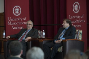 Thumbnail of Congressman Barney Frank and author Stuart Weisberg seated on the Student Union Ballroom             stage, UMass Amherst, during their book event
