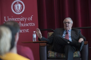 Thumbnail of View from the audience of Congressman Barney Frank seated on the Student Union Ballroom stage, UMass Amherst, during his book event