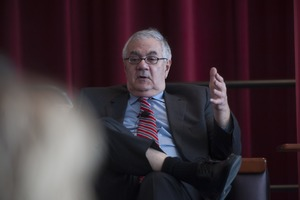 Thumbnail of Congressman Barney Frank seated on the Student Union Ballroom stage, UMass Amherst, during his book event