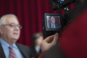 Thumbnail of Congressman Barney Frank being interviewed on television at the Student Union Ballroom stage, UMass Amherst, during his book event