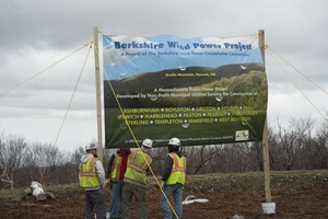 Thumbnail of Construction crew setting up banner for opening of the Berkshire Wind Power             Project