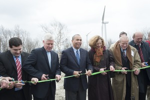 Thumbnail of Gov. Deval Patrick (center) flanked by Richard K. Sullivan (left) Meredith             Cochran and Ronald C. DeCurzio (right), cutting to ribbon to dedicate the Berkshire Wind Power Project