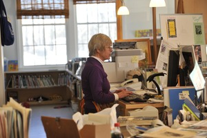 Thumbnail of Librarian at her desk, New Salem Public Library