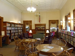 Thumbnail of Adams Free Library: Public area Reading area with tables and seating