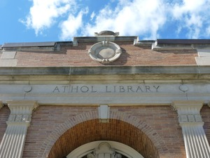 Thumbnail of Athol Public Library: exterior view of front entrance (detail)