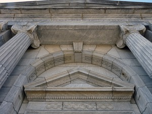 Thumbnail of Belding Memorial Library: columns and architectural details at front entrance