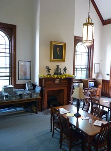 Thumbnail of Clapp Memorial Library: reading room with fireplace