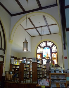 Thumbnail of Clapp Memorial Library: interior view with book stacks