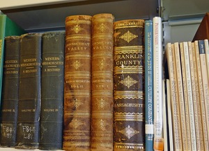 Thumbnail of Buckland Public Library: close-up of antiquarian books