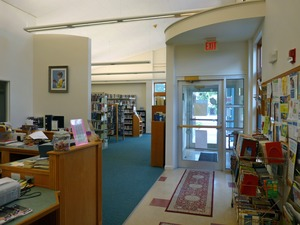 Thumbnail of Clarksburg Town Library, Clarksburg, Mass.: interior view of front entrance