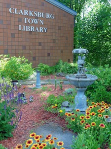 Thumbnail of Clarksburg Town Library, Clarksburg, Mass.: exterior view of garden