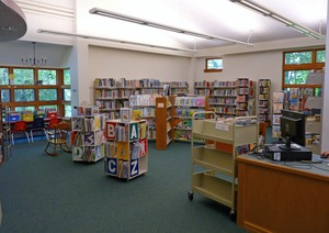 Thumbnail of Clarksburg Town Library, Clarksburg, Mass.: interior view of childrens' room