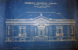 Thumbnail of Griswold Memorial Library: blueprints of front elevation by McLean & Wright Architects