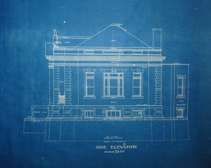 Thumbnail of Griswold Memorial Library: blueprints of side elevation by McLean & Wright             Architects