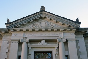 Thumbnail of Griswold Memorial Library: detail of pediment above front entrance