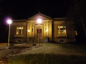 Thumbnail of Griswold Memorial Library: library lit up at night