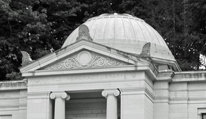 Thumbnail of Field Memorial Library: close-up of exterior of front pediment and rotunda