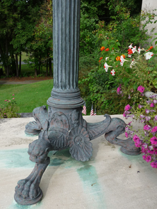 Field Memorial Library: wrought-iron base of exterior lighting fixture