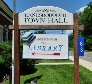 Thumbnail of Newton Memorial Town Hall, Lanesborough, Mass.: sign for town hall and library