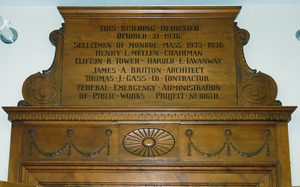 Thumbnail of Monroe Public Library: interior plaque dedicating the library