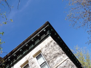 Thumbnail of Dickinson Memorial Library: cornice at corner of building
